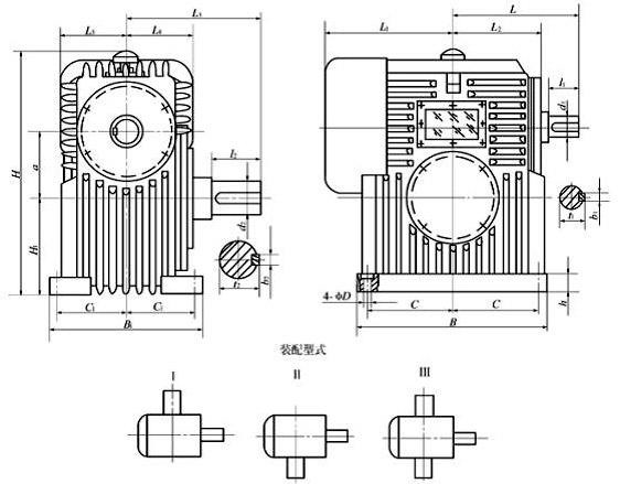 PWO包络减速机其蜗齿面是以一个平面为母面,通过相对圆周运动,包络出环面蜗杆的 齿面,再以蜗杆的齿面为母线,通过相对运动包络出蜗轮的齿面,称为平面二次包络环面蜗杆副。   PW系列包络减速机包括PWU、PWO、PWS型三种型式,适用于冶金、矿山、起 重、运输、石油、化工、建筑等行业机械设备的减速传动。工作条件为两轴交角为90°;蜗杆转速不超过1500r/min;工作环境温度为0~40,当环境温度低于0或高于40时,启动前润滑油要相应加热或冷却;蜗杆轴可正、反向运转。   PWO系列传动比标